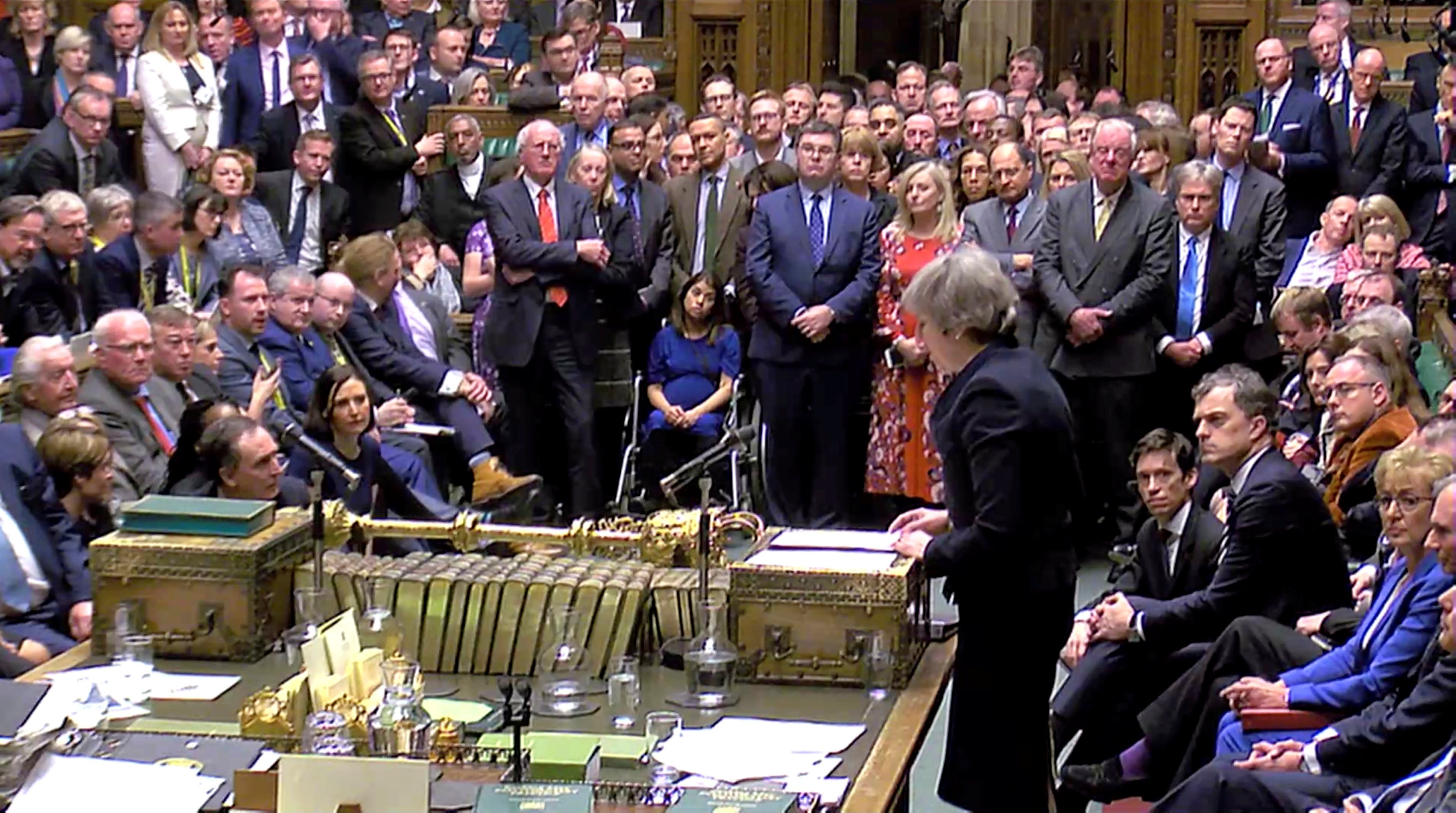 NO CONSENSUS: Theresa May addresses the Commons on Tuesday night (15)