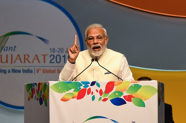 Indian prime minister Narendra Modi gives inaugral speech at the Vibrant Gujarat Global Summit being held in Gandhinagar on January 18, 2019. The Vibrant Gujarat Summit is running until January 20 (Photo: SAM PANTHAKY/AFP/Getty Images).