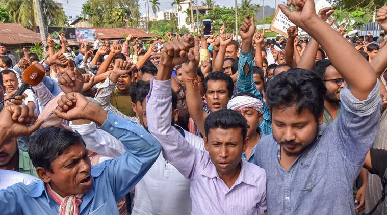 Guwahati: Members of different organizations and individuals raise slogans against the Citizenship (Amendment) Bill, 2016  during a hearing before the Joint Committee at the Assam Administrative Staff College, Khanapara in Guwahati on Monday. PTI Photo(PTI5_7_2018_000141B)