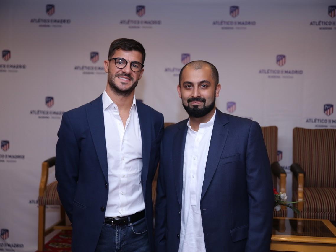 Atletico Madrid's international academy manager Fernando Lobetewith Lahore Academy's CEO Muhammad Atta Tanseer