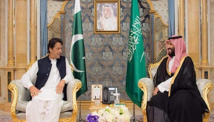 Pakistan prime minister Imran Khan with Crown Prince Mohammad bin Salman
