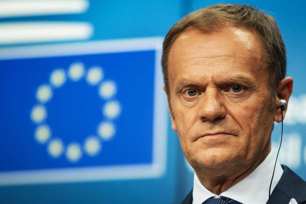 President of the European Council Donald Tusk during a news conference on March 22 in Brussels. (Jack Taylor/Getty Images)