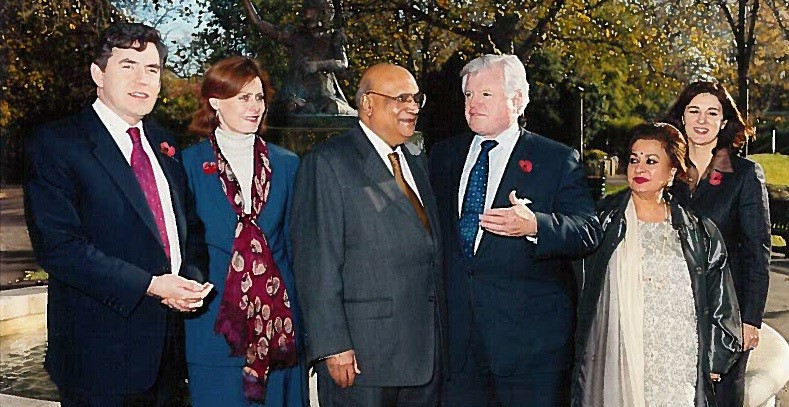 Former prime minister Gordon Brown and his wife Sarah, Lord Paul, Ted Kennedy, Lady Aruna Paul and Vicki Kennedy.