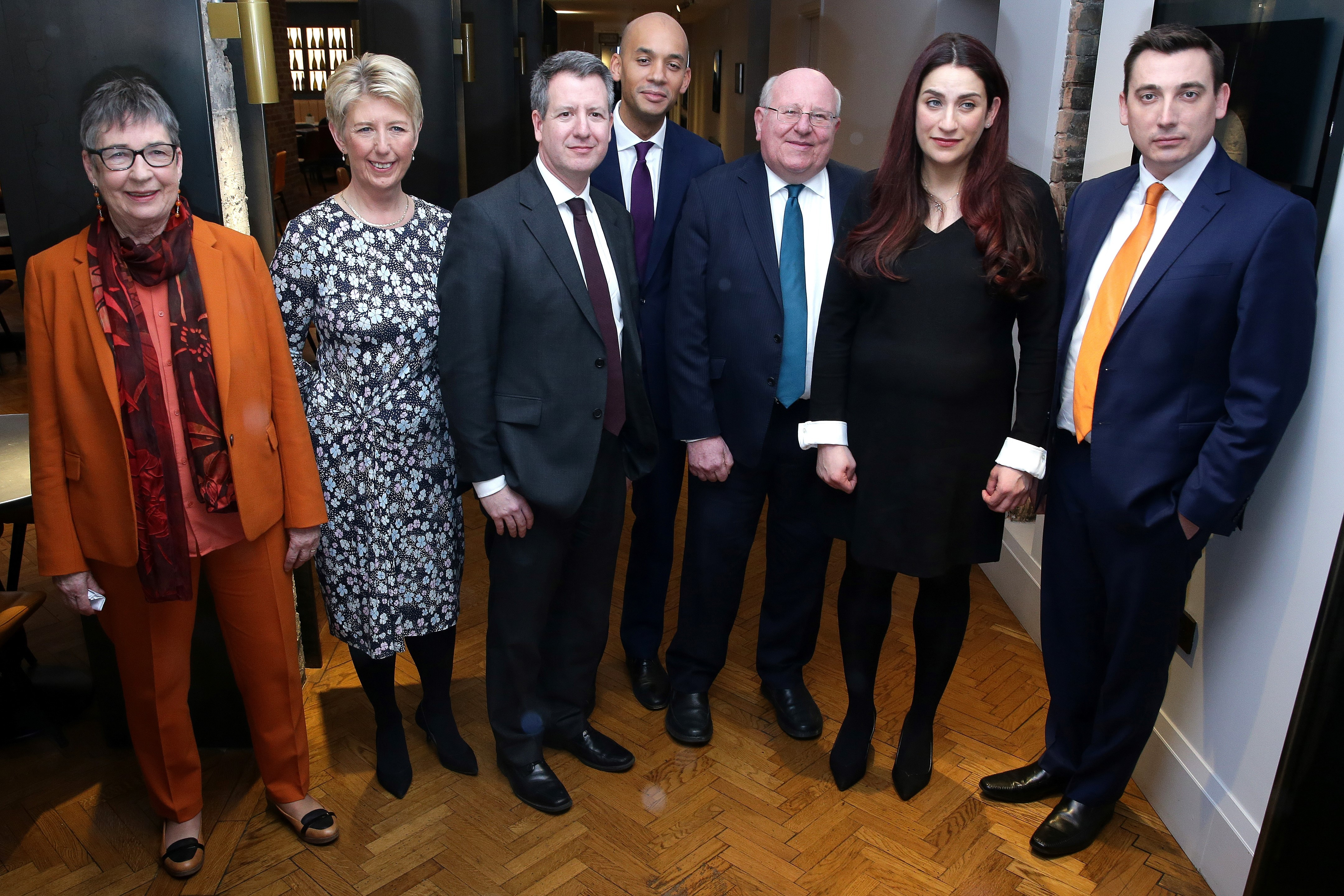 Former Labour party MPs, (From Left) Ann Coffey, Angela Smith, Chris Leslie, Chuka Umunna, Mike Gapes, Luciana Berger, and Gavin Shuker pose for a photograph following a press conference in London on February 18, 2019, where they announced their resignation from the Labour Party, and the formation of a new independent group of MPs.  (Photo: DANIEL LEAL-OLIVAS/AFP/Getty Images)