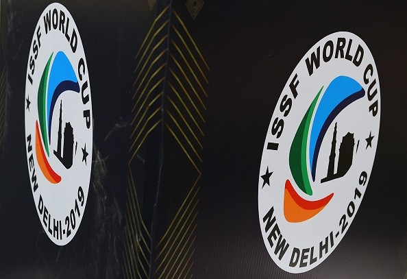 The logo of the International Shooting Sport Federation (ISSF) World Cup is displayed on a screen at the International Shooting Sport Federation (ISSF) World Cup at Dr. Karni Singh Shooting Range, in New Delhi on February 20, 2019. (Photo by Sajjad Hussain / AFP/ Getty Images)