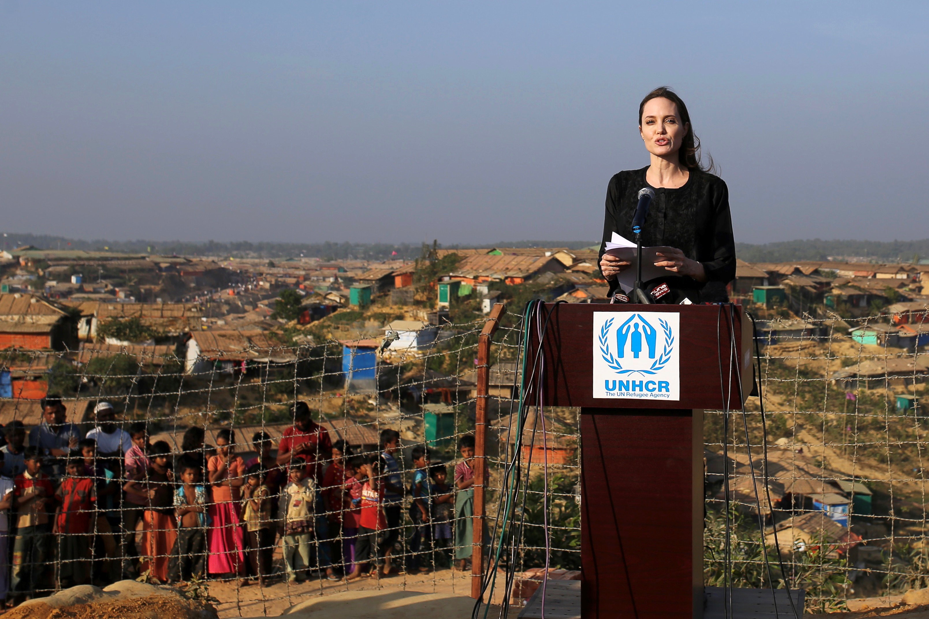 Actor Angelina Jolie joins in a press briefing as she visits Kutupalong refugee camp in Cox's Bazar, Bangladesh, February 5, 2018. (Photo: Reuters/Rehman Asad)