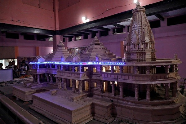 The model of a proposed Ram temple that Hindu groups want to build at a disputed religious site in Ayodhya in the northern state of Uttar Pradesh. (Photo: REUTERS/Pawan Kumar)
