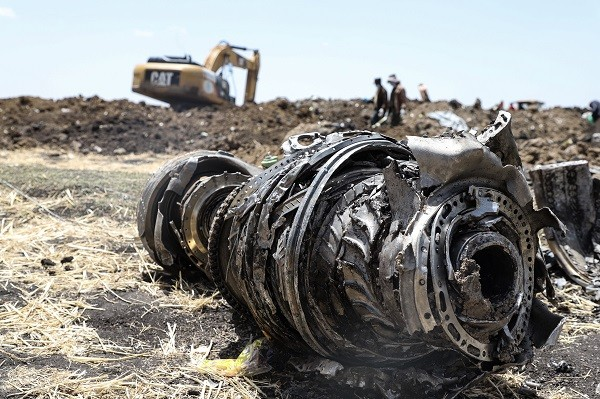 A photo shows debris of the crashed airplane of Ethiopia Airlines, near Bishoftu, a town some 60 kilometres southeast of Addis Ababa, Ethiopia, on March 11, 2019 (Photo: MICHAEL TEWELDE/AFP/Getty Images).