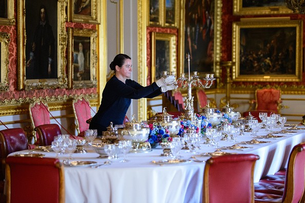 """On display for the first time ever, The Deccan Dinner Service in the Waterloo Gallery at the """"Young Wellington In India"""" exhibition press preview at Apsley House on March 25, 2019 in London, United Kingdom.  (Photo by Joe Maher/Getty Images)"""
