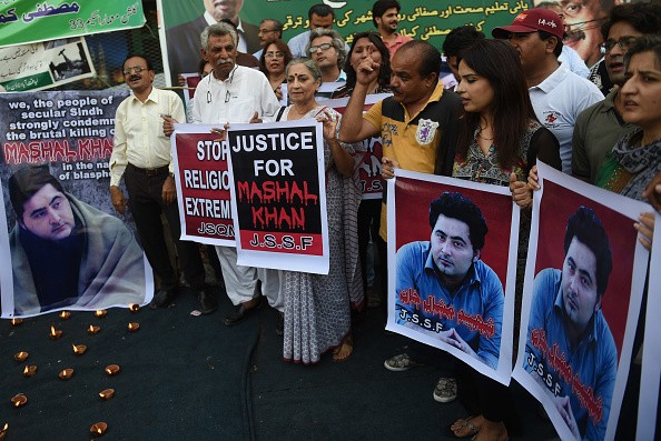 Pakistani demonstrators take part in a protest the killing of journalism student Mashal Khan in Karachi on April 22, 2017. Pakistan police announced April 17 they had arrested 22 people after the lynching of a university student accused of blasphemy, but observers said there was little hope authorities would secure convictions. / AFP PHOTO / RIZWAN TABASSUM        (Photo credit should read RIZWAN TABASSUM/AFP/Getty Images)