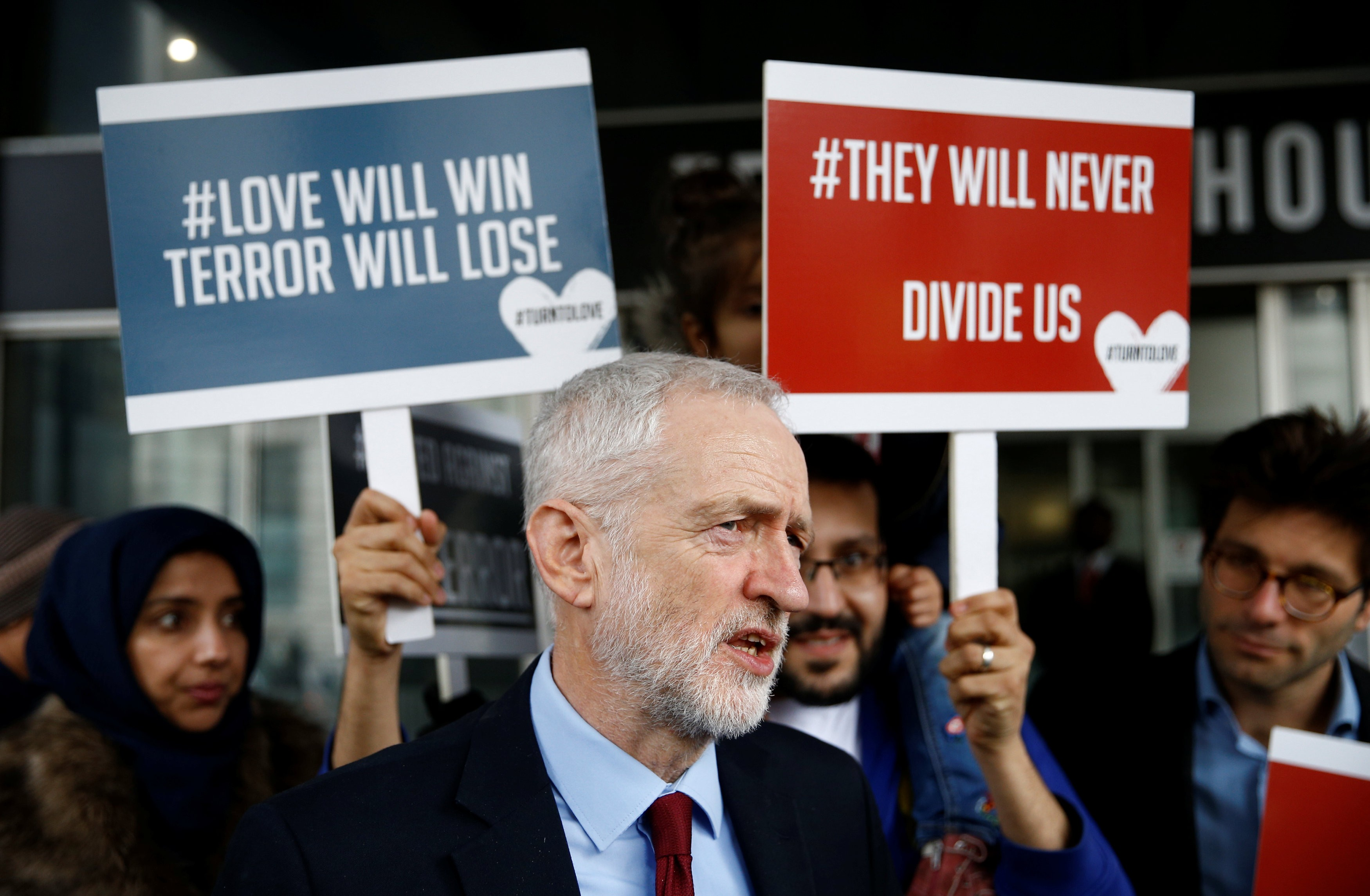 Labour Party leader Jeremy Corbyn speaks to the media outside New Zealand House, following the Christchurch mosque attacks in New Zealand, in London, on March 15