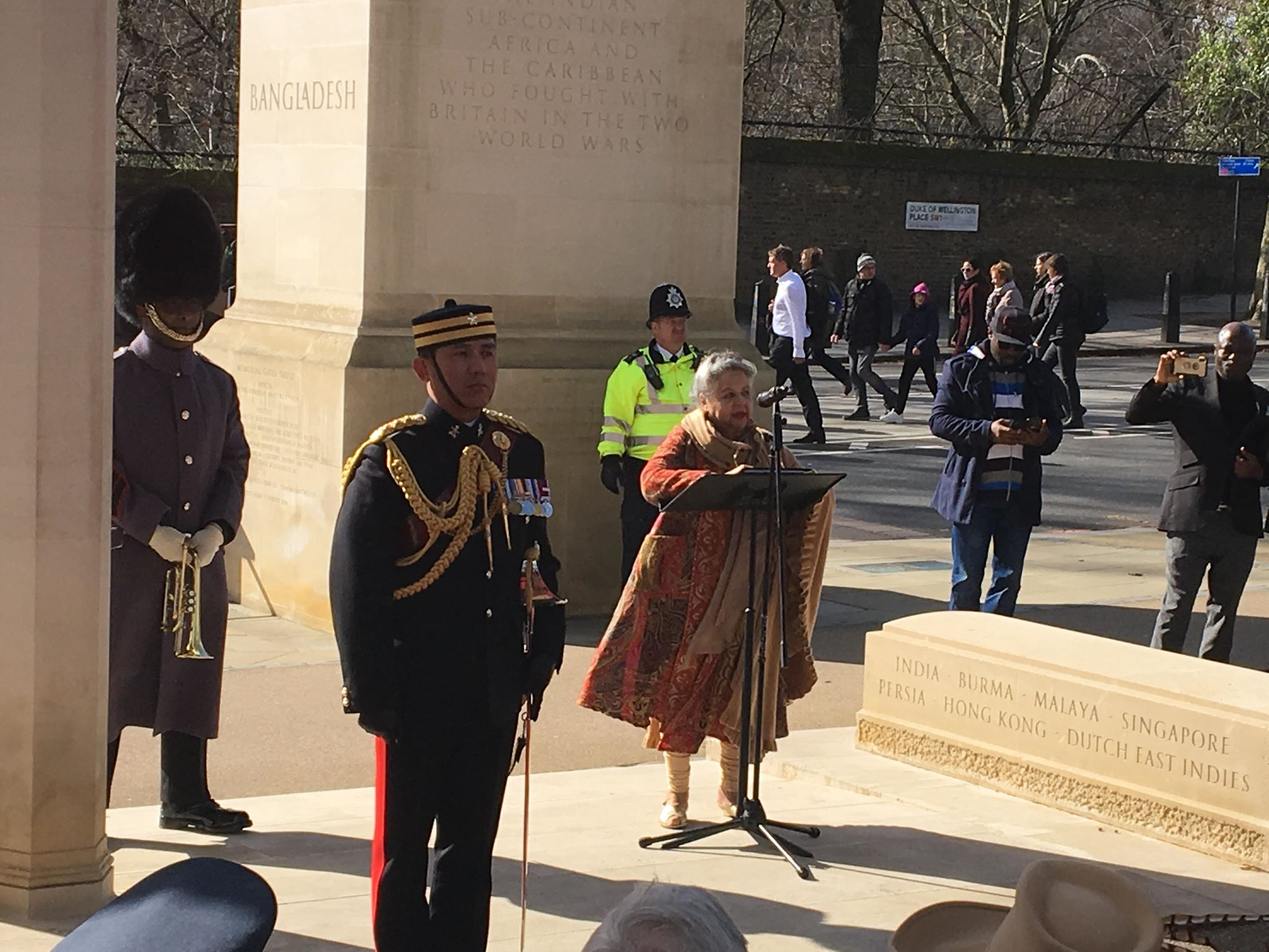 Baroness Shreela Flather, life-president for the Memorial Gates Council, spoke to guests about the memorial's significance