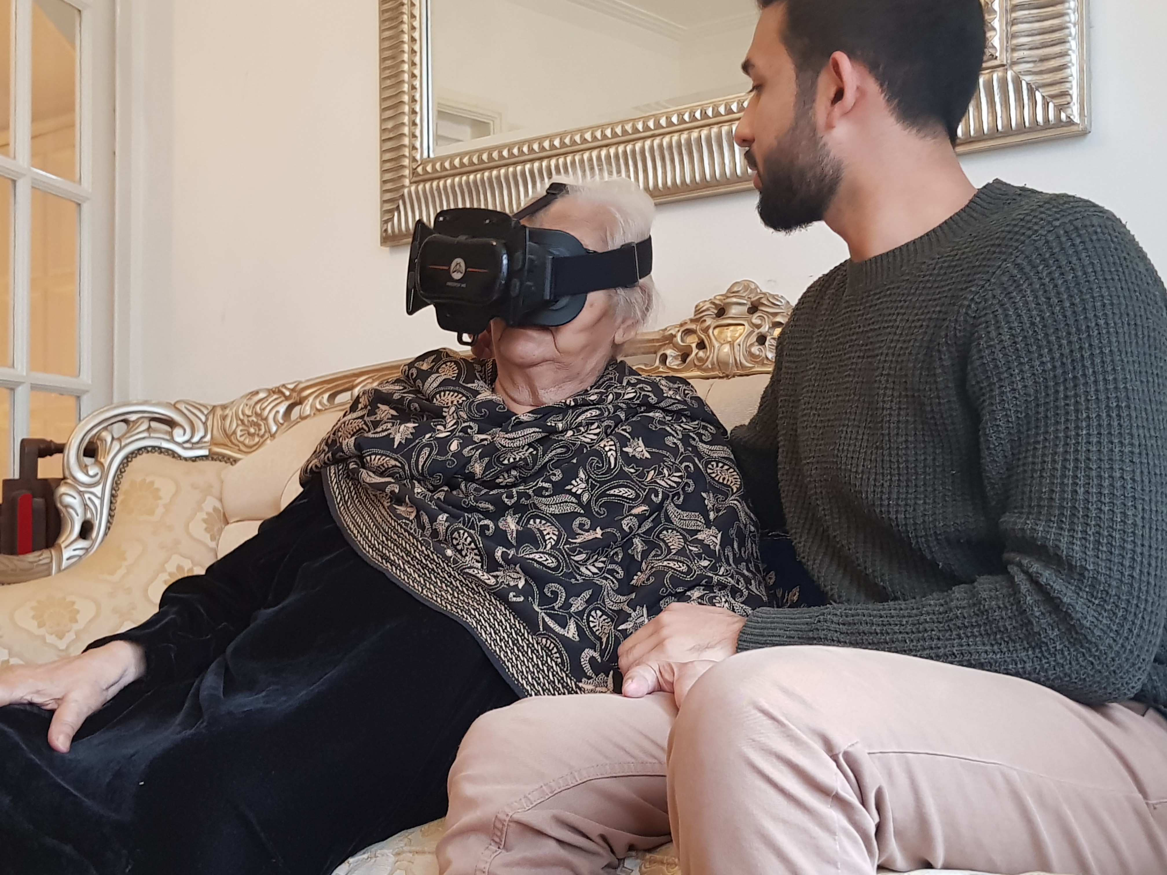 Saida Siddiqui, a partition witness, tests a VR prototype