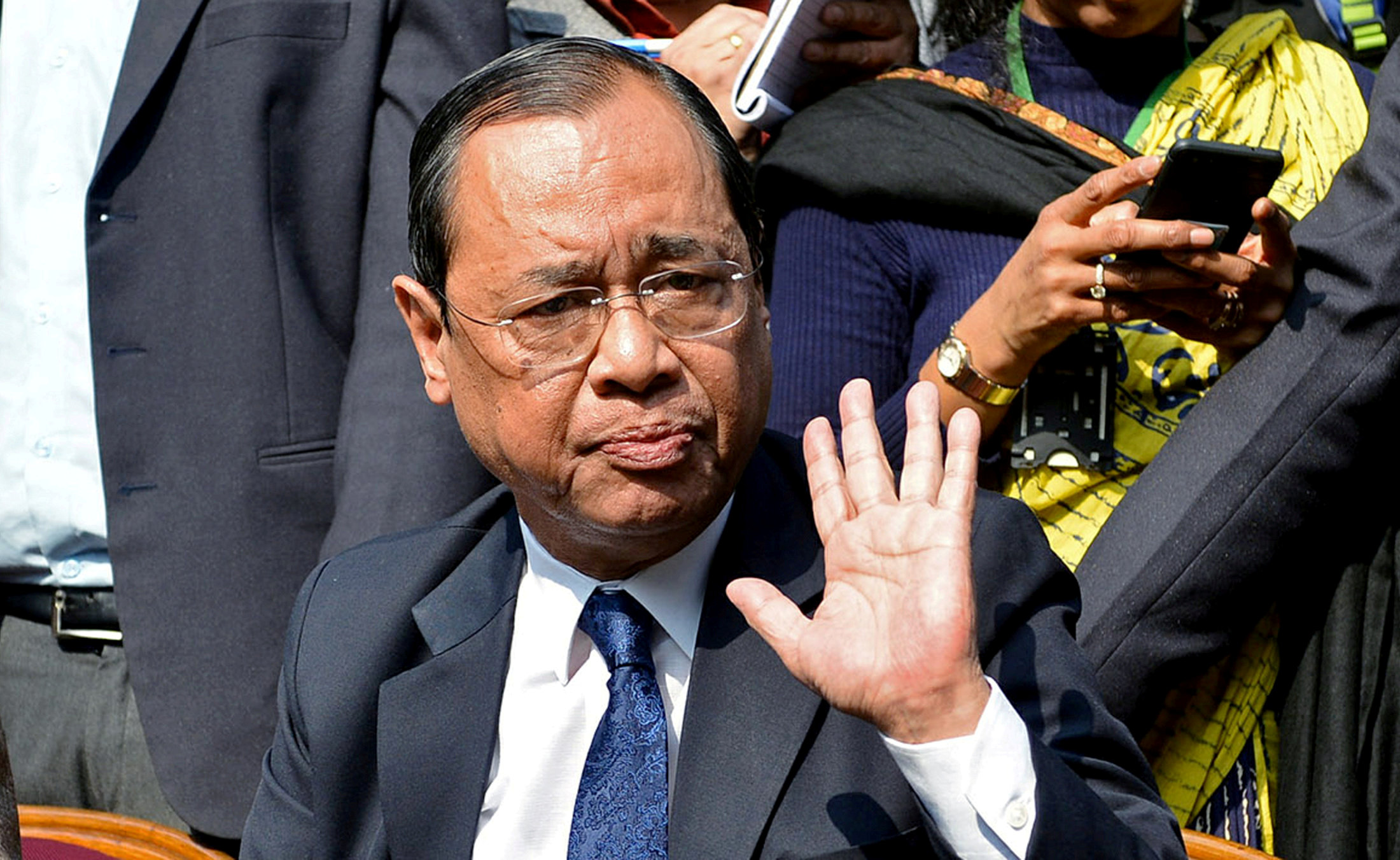 Ranjan Gogoi, a Supreme Court judge, gestures as he addresses the media at a news conference in New Delhi. (REUTERS/Stringer)