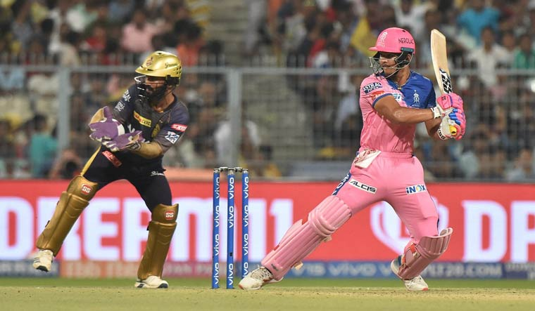Rajasthan Royals' Riyan Parag plays a shot during the IPL match against Kolkata Knight Riders (PTI)