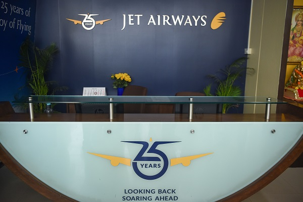 An empty counter is pictured at the ground floor of Jet Airways head office in Mumbai on April 18, 2019 (Photo: PUNIT PARANJPE/AFP/Getty Images).