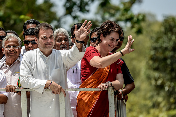 Rahul Gandhi with his sister Priyanka Gandhi. (Photo by Atul Loke/ Getty Images)