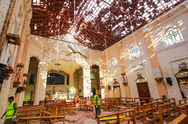 Sri Lankan officials inspect St. Sebastian's Church in Negombo, north of Colombo, after multiple explosions targeting churches and hotels across Sri Lanka on April 21, 2019, in Negombo, Sri Lanka.(Photo by Stringer/Getty Images)
