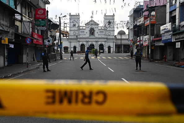 Security personnel stand guard in front of St. Anthony's Shrine in Colombo on April 23, 2019, two days after a series of bomb blasts targeting churches and luxury hotels in Sri Lanka.  (Photo: JEWEL SAMAD/AFP/Getty Images)