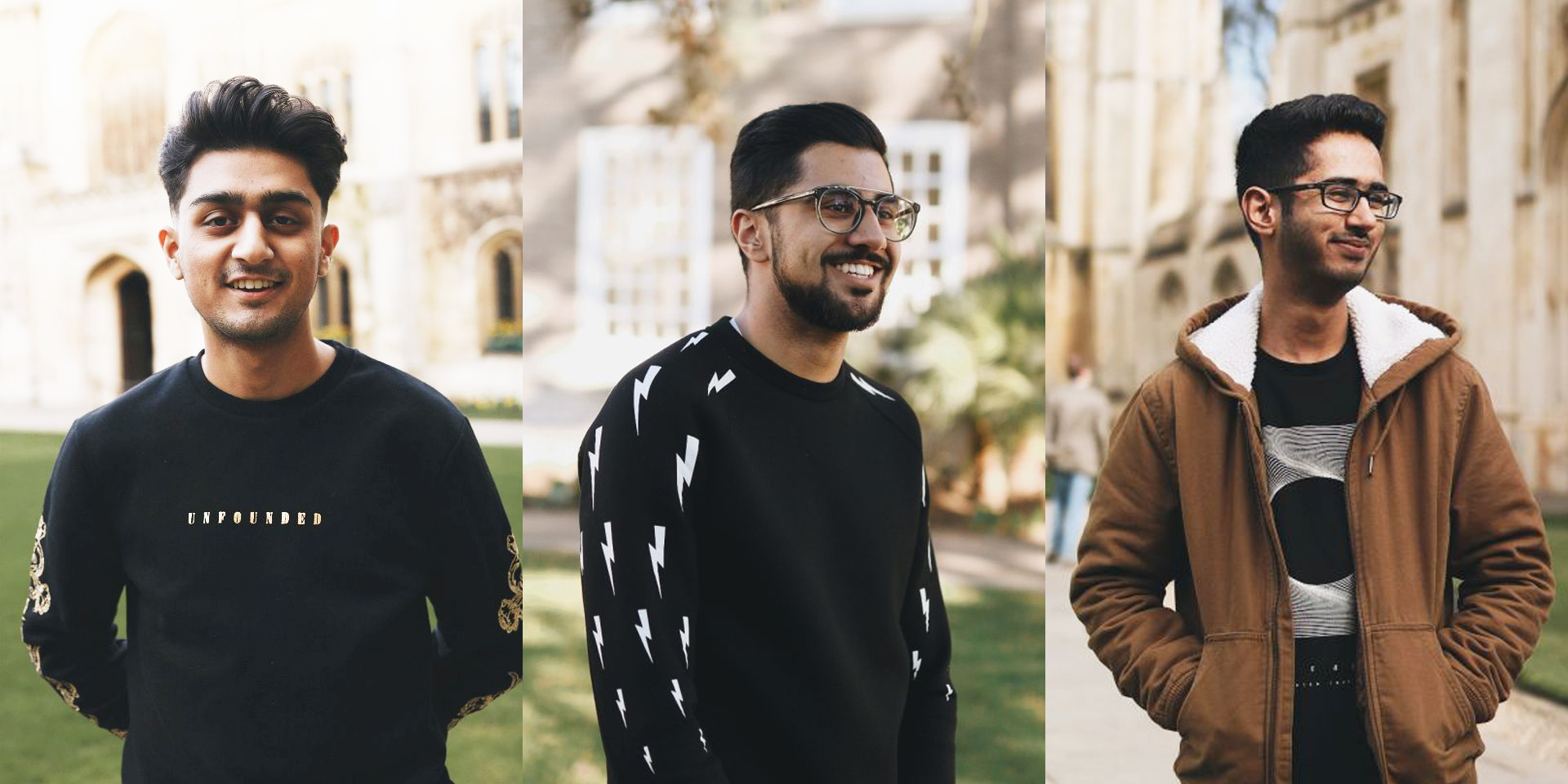 Portraits of Abdullah Shakeel (left); Hasaan Agha (centre); and Nasar Siddiqui were taken for a photo series on male British-Pakistani students at Cambridge