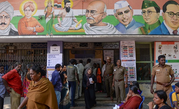 An Indian woman comes out of a polling station after casting their vote in Chennai on April 18, 2019, during the second phase of the mammoth Indian elections (Photo: ARUN SANKAR/AFP/Getty Images).