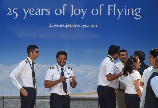 India's Jet Airways pilots gather at its head office in Mumbai on April 15, 2019 (Photo: PUNIT PARANJPE/AFP/Getty Images).