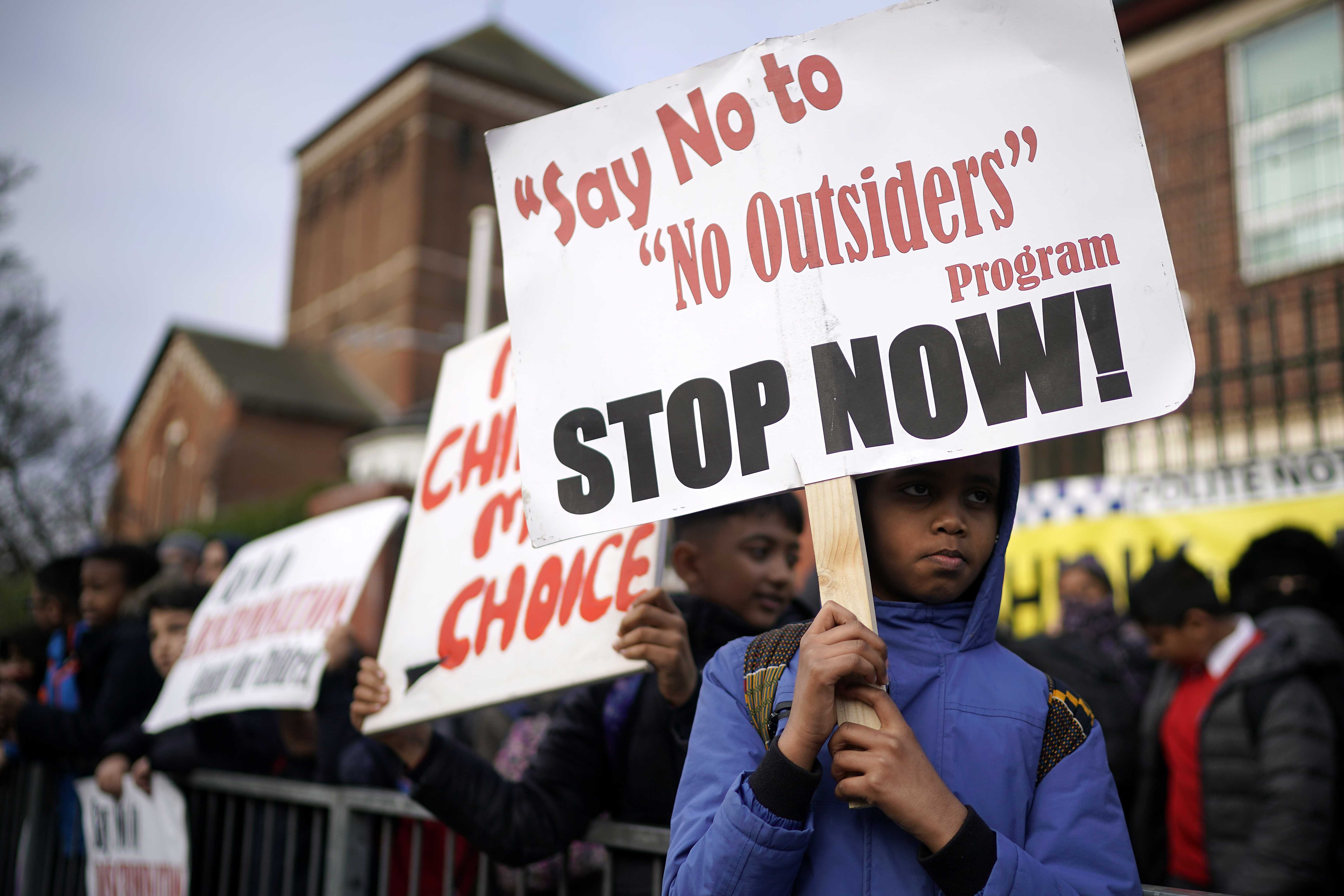 Protests outside a school in Birmingham (Pic credit: Christopher Furlong/Getty Images)