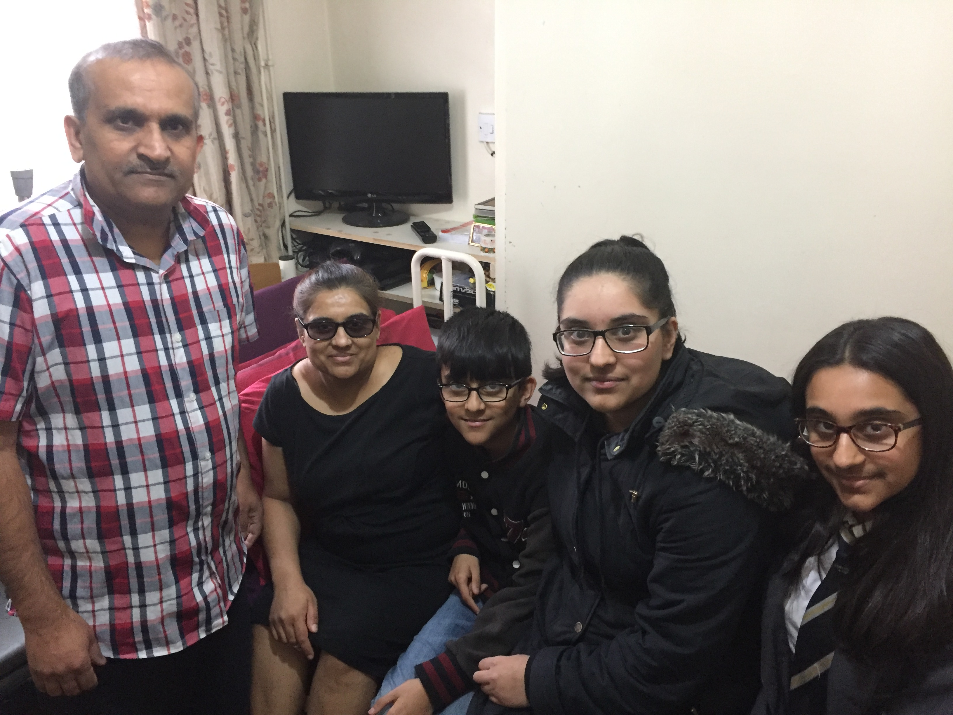 CARE: Young carer Neha (second from right) with her father Jagruti; mum Jayanti; brother Dev and sister Priyanka