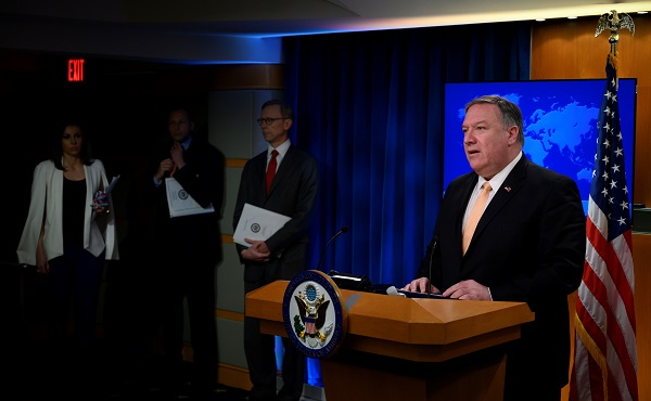 US Secretary of State Mike Pompeo speaks during a press conference at the US Department of State in Washington, DC on April 22, 2019. The United States announced that it will no longer grant sanctions exemptions to Iran's oil customers, potentially punishing allies such as India as it tries to squeeze Tehran's top export (Photo: ANDREW CABALLERO-REYNOLDS/AFP/Getty Images).