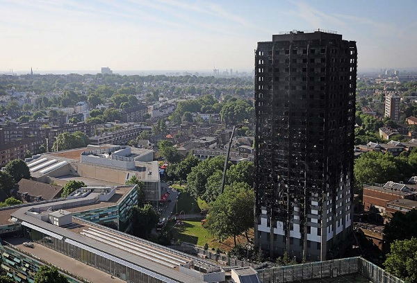 Grenfell Tower after the fire in 2017