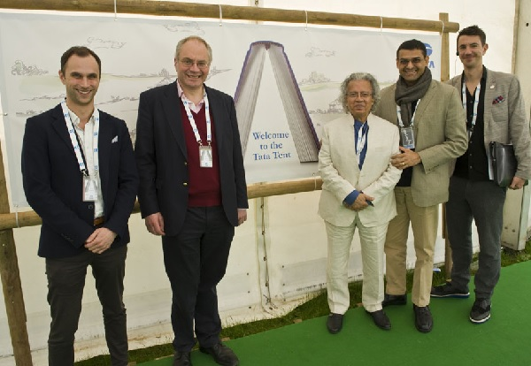 Dr David Landsman OBE (second left), former executive director of Tata Limited, Europe, at the Hay Festival in 2015