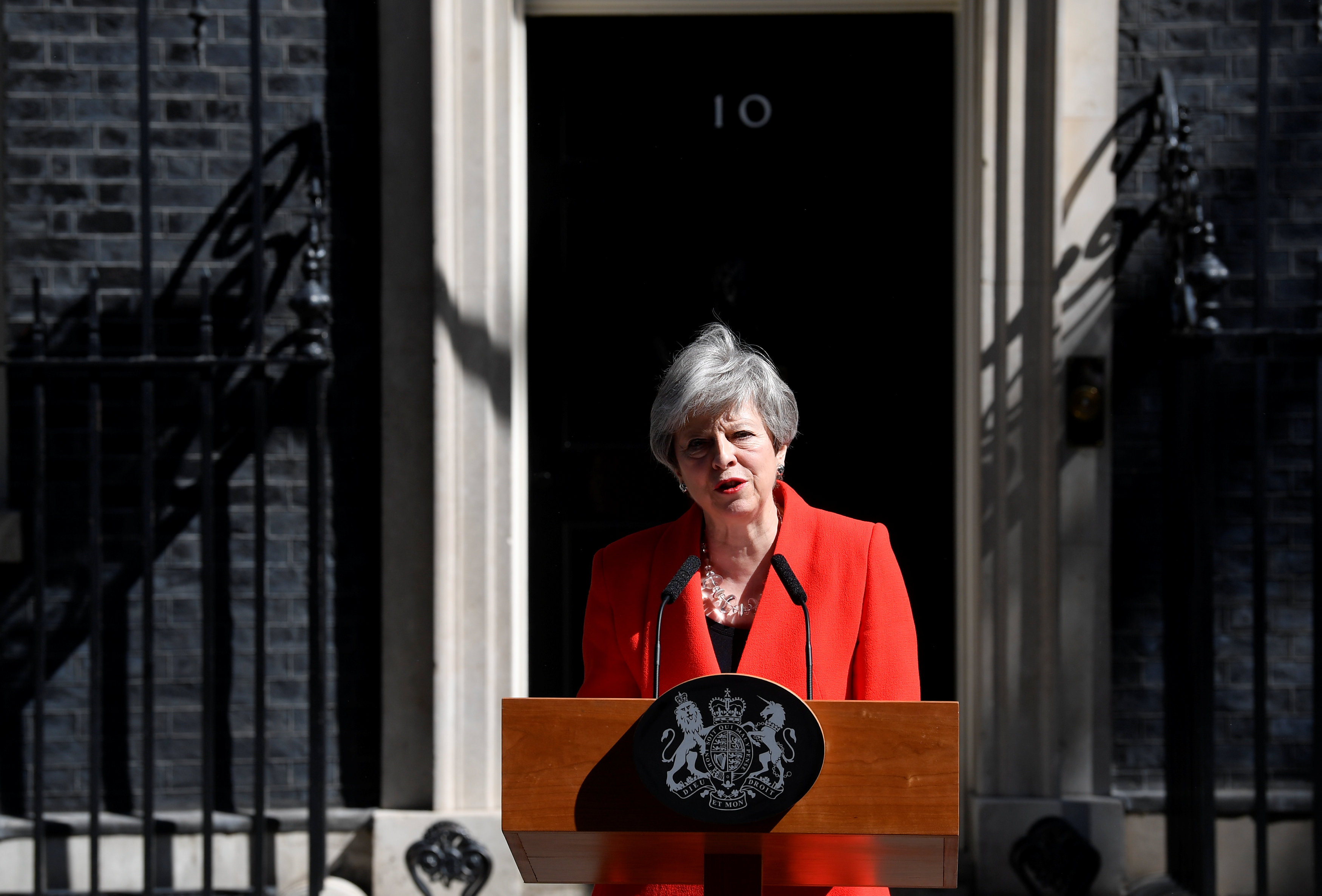 British Prime Minister Theresa May delivers a statement in London, Britain, May 24, 2019. REUTERS/Toby Melville