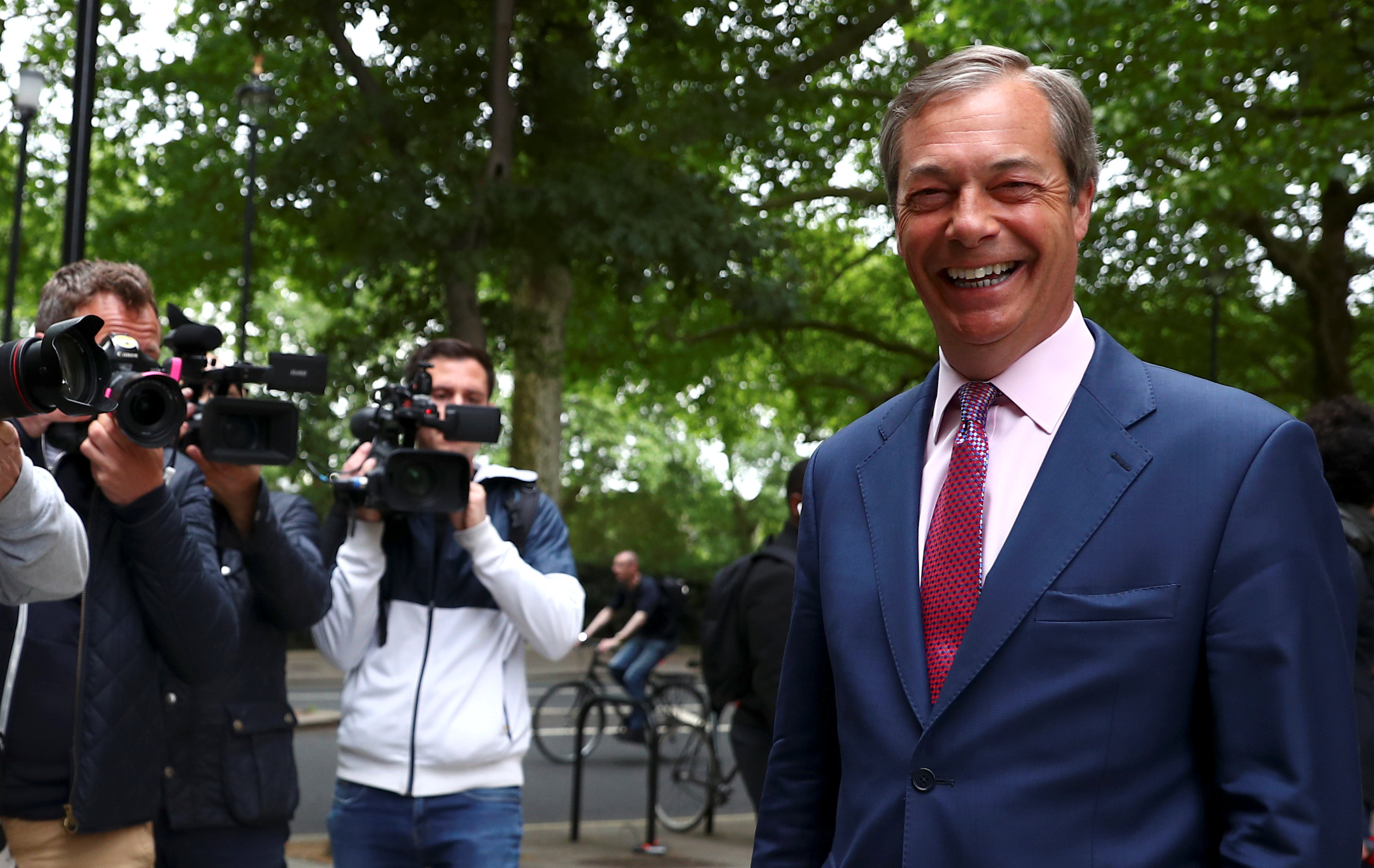 Leader of the Brexit Party Nigel Farage is pictured outside TV studios in Westminster, following the results of the European Parliament elections, in London, Britain May 27, 2019. REUTERS/Hannah Mckay