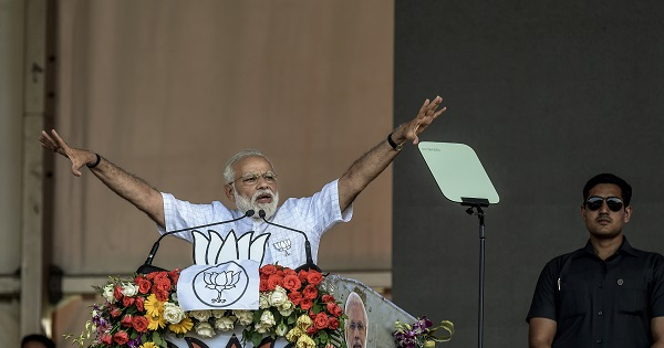 """""""People of Delhi have been fooled by a bunch of no-gooders who promised a new kind of politics. But they have become synonymous with anarchy and obstructionism,"""" Modi said (Photo: Atul Loke/ Getty Images)."""