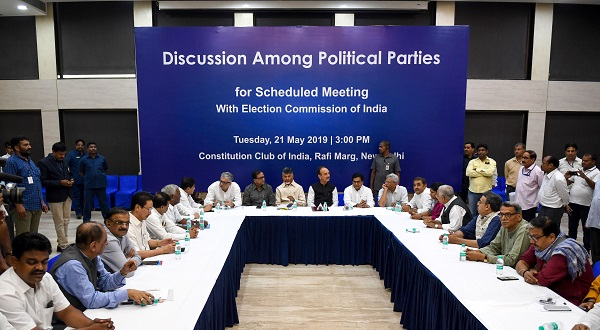 Members of 21 opposition parties sit participate in a meeting before going to the Election Commission of India in New Delhi on May 21, 2019. 21 representatives of the Indian opposition parties met the Election Commission regarding their concerns about Electronic Voting Machines and the Voter Verified Paper Trail Machines (Photo: MONEY SHARMA/AFP/Getty Images).