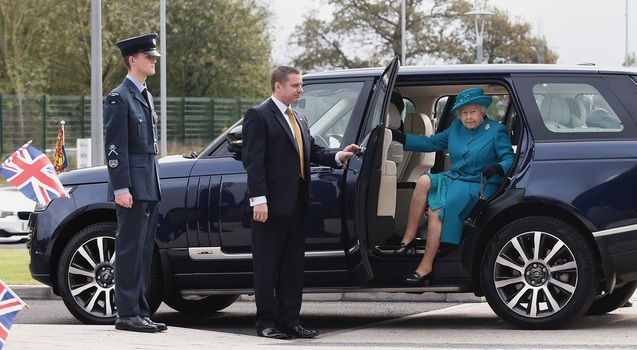 The Queen arrives to open a JLR plant in Wolverhampton in 2014.