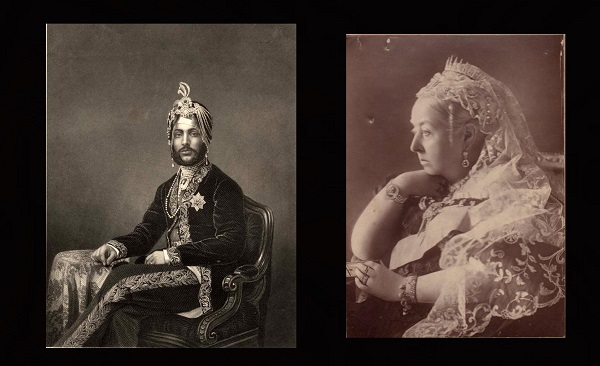 Portraits of Queen Victoria (right) and Duleep Singh (left).