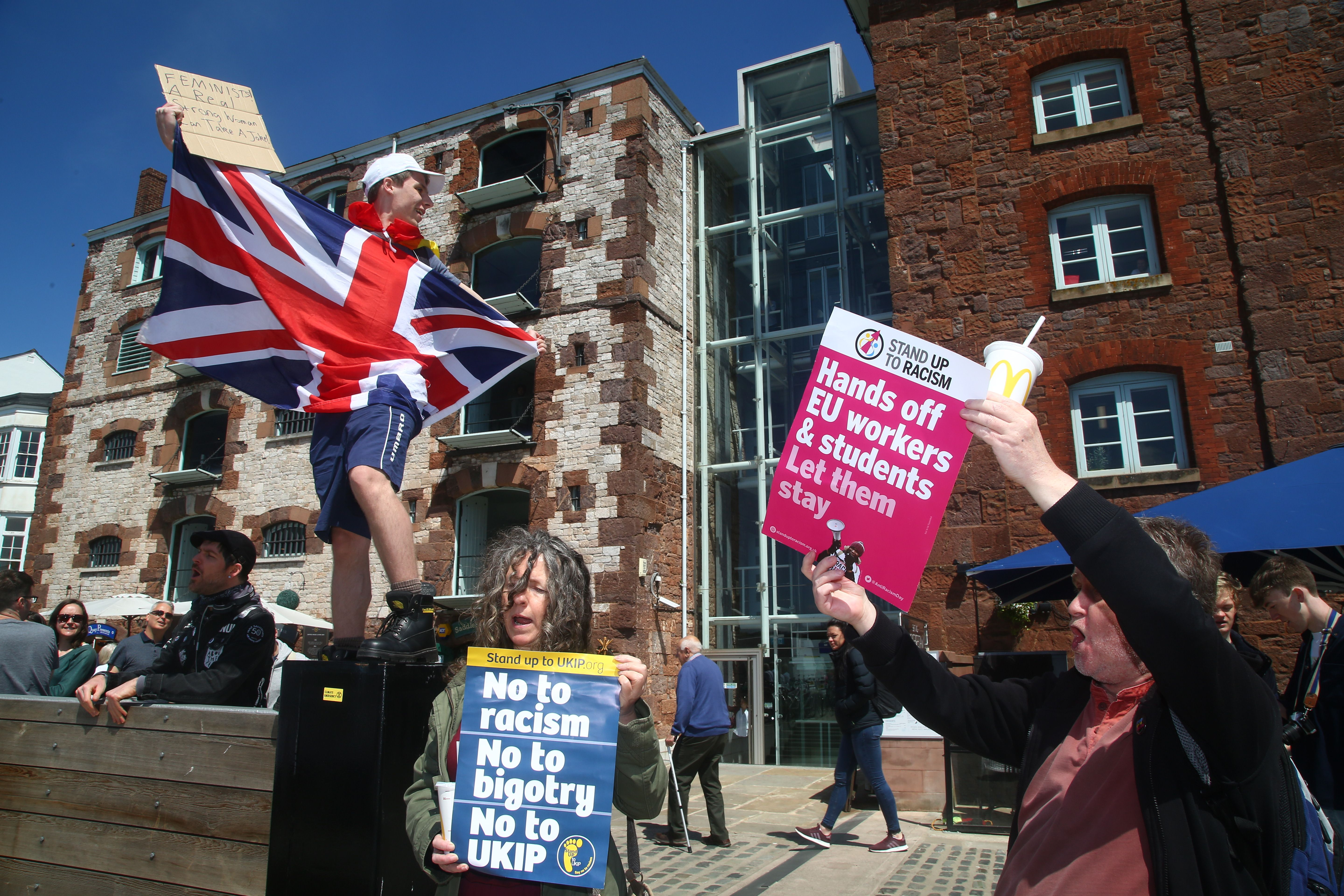 Some politicians and campaigners are concerned at the rise of far right groups ahead of the EU elections (Photo credit: GEOFF CADDICK/AFP/Getty Images)