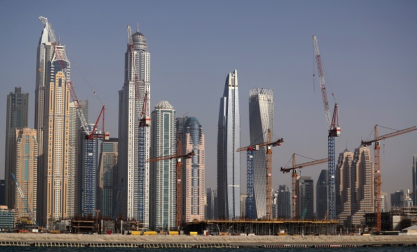 A picture taken on May 5, 2019 shows constructions works on the Dubai Marina Harbour. (Photo by Karim MOHSEM SAHIB and KARIM SAHIB / AFP)        (Photo credit should read KARIM MOHSEM SAHIB,KARIM SAHIB/AFP/Getty Images)