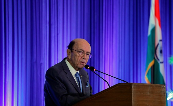 US commerce secretary Wilbur Ross addresses a gathering at the Trade Winds Indo-Pacific Trade Mission and Business Forum in New Delhi, India, May 7, 2019 (Photo: REUTERS/Anushree Fadnavis).