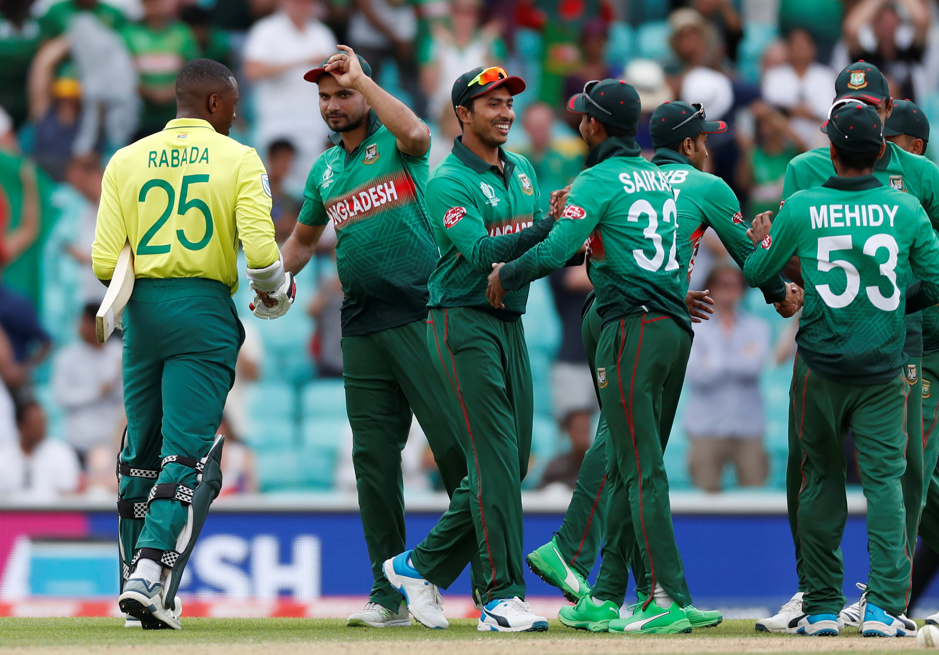 Cricket - ICC Cricket World Cup - South Africa v Bangladesh - Kia Oval, London, Britain - June 2, 2019   Bangladesh players celebrate after the match       Action Images via Reuters/Paul Childs