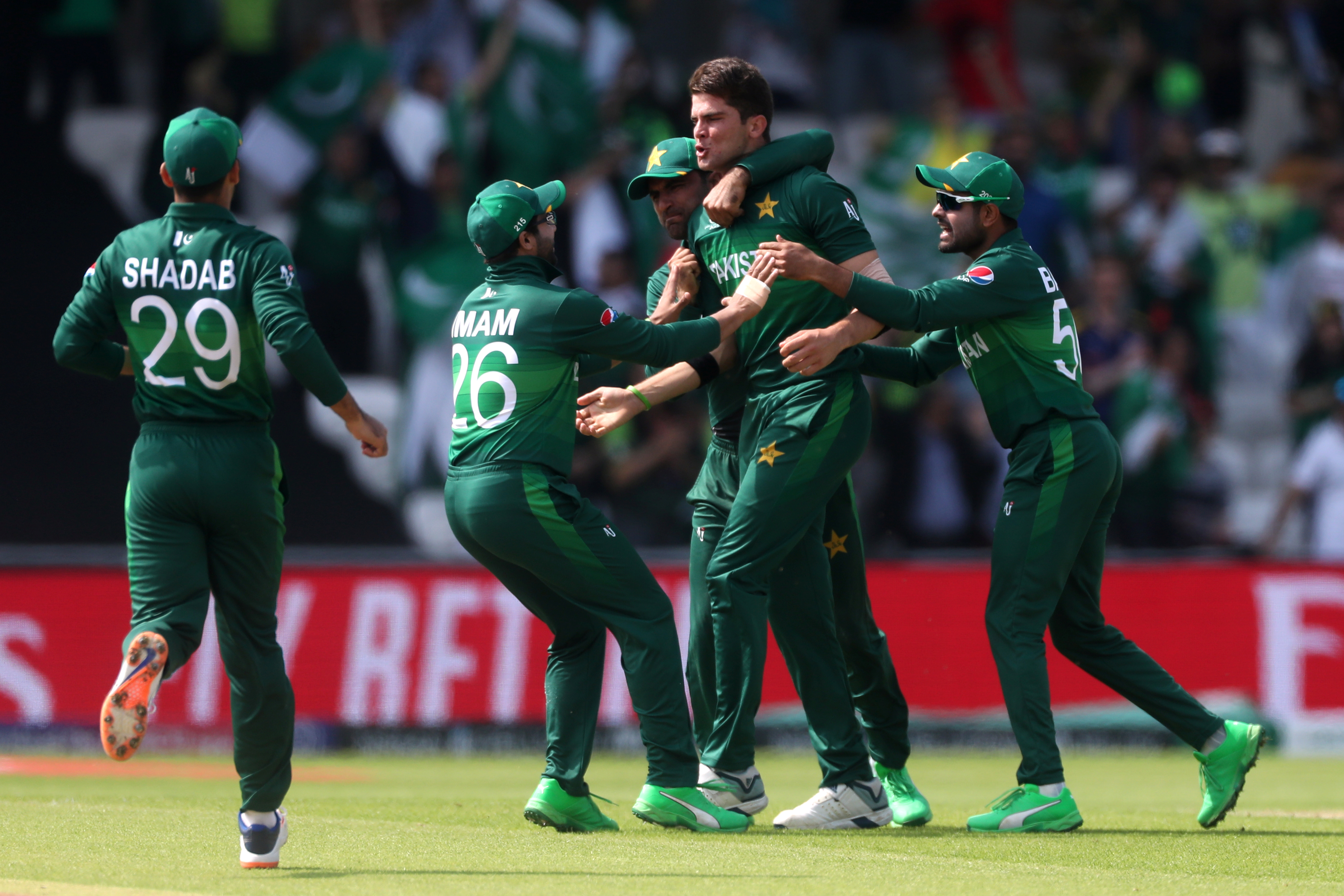 Cricket - ICC Cricket World Cup - Pakistan v Afghanistan - Headingley, Leeds, Britain - June 29, 2019   Pakistan's Shaheen Afridi celebrates taking the wicket of Afghanistan's Hashmatullah Shahidi   Action Images via Reuters/Lee Smith