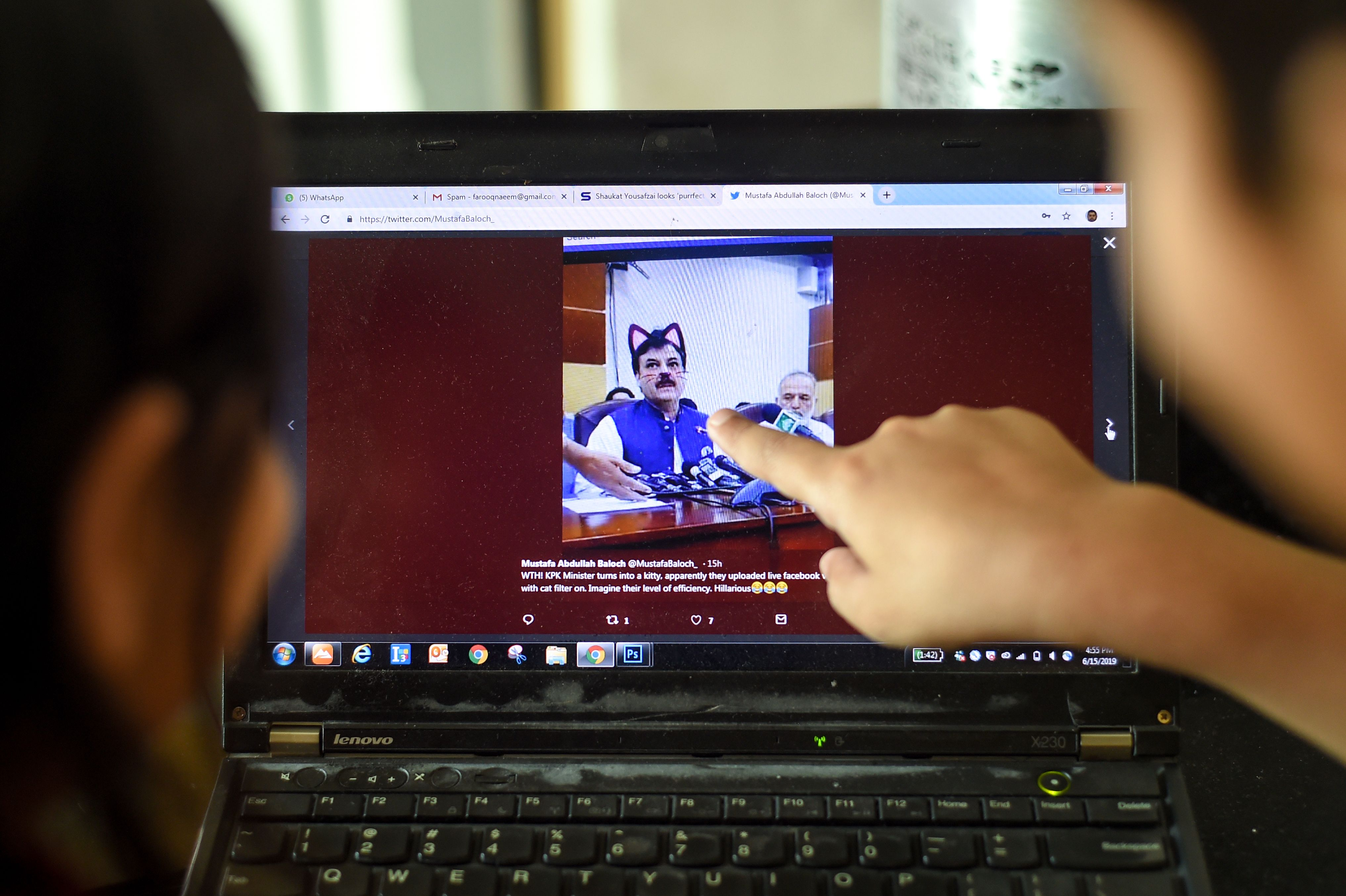 A minister in Pakistan's northwestern Khyber Pakhtunkhwa province had to face a hilarious situation after his entire media talks went live with a cat filter on by his social media team (Photo credit: FAROOQ NAEEM/AFP/Getty Images)