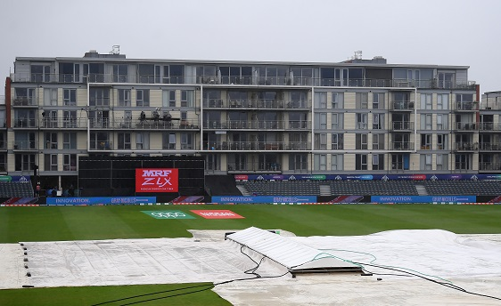 A general view of the covers as the match is abandoned during the group stage match of the ICC Cricket World Cup 2019 between Bangladesh and Sri Lanka at Bristol County Ground on June 11, 2019 in Bristol, England. (Photo: Alex Davidson/Getty Images).