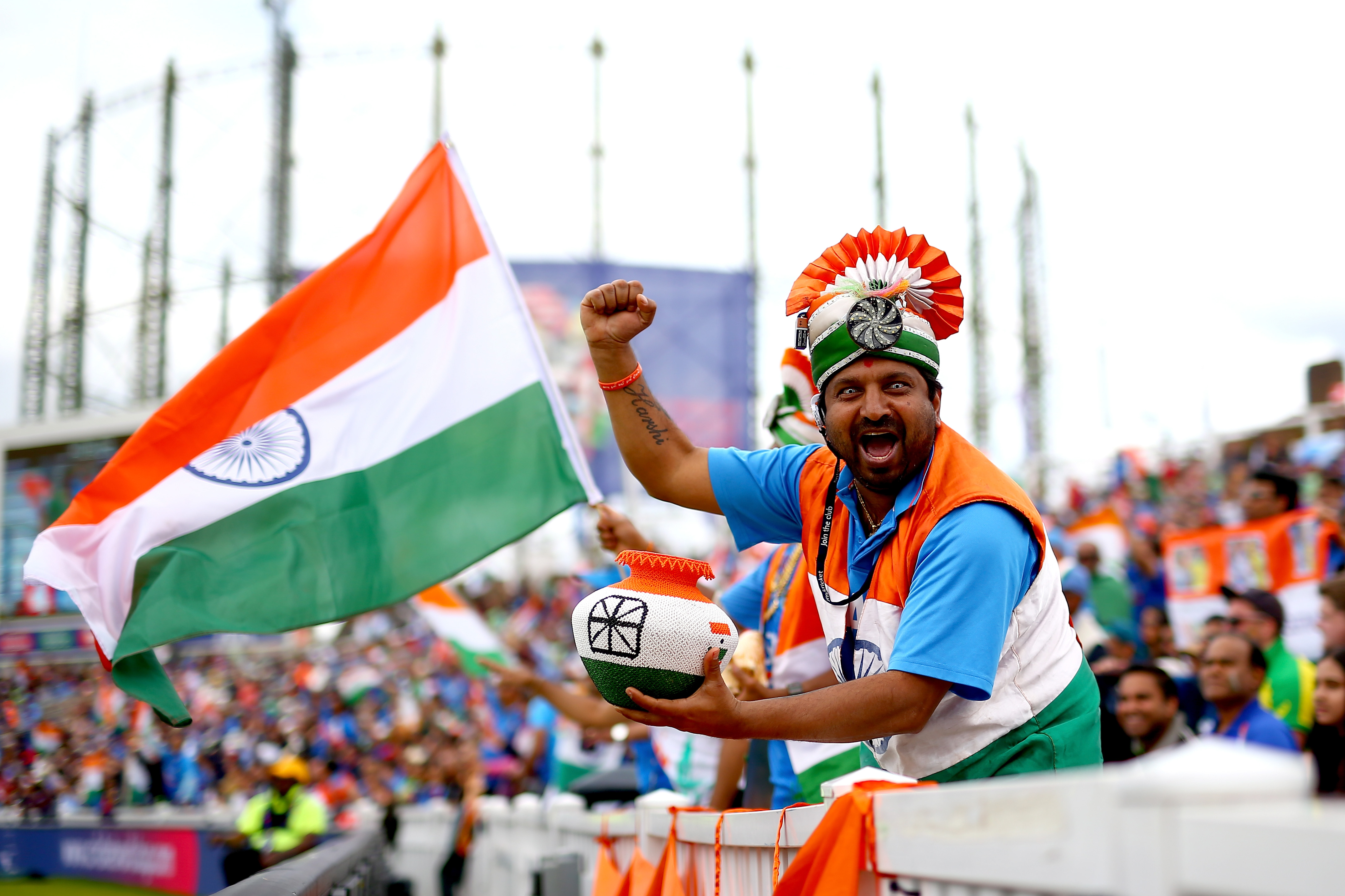 LONDON, ENGLAND - JUNE 09: India fans enjoy the atmosphere during the Group Stage match of the ICC Cricket World Cup 2019 between India and Australia at The Oval on June 09, 2019 in London, England. (Photo by Jordan Mansfield/Getty Images for Surrey CCC)