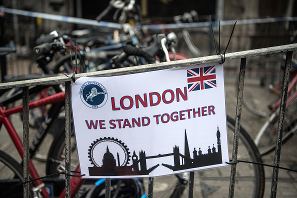 A poster is hung on a bike rack near London Bridge following a terrorist attack, on June 6, 2017 in London, England.   (Photo by Carl Court/Getty Images)