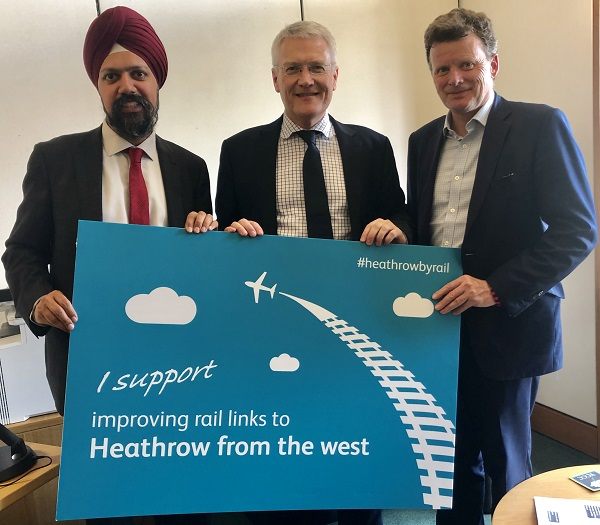 Indian origin labour MP Tan Dhesi and Conservative MP Richard Benyon met the Rail Minister, Andrew Jones MP, to discuss the work of the all party parliamentary group for a western rail link to Heathrow (APPG WRLtH).