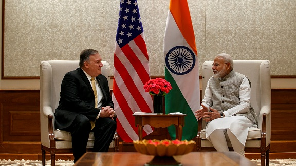 US Secretary of State Mike Pompeo (L), talks with Indian Prime Minister Narendra Modi during their meeting at the Prime Minister's Residence, Wednesday, June 26, 2019, in New Delhi, India (Jacquelyn Martin/Pool via REUTERS).