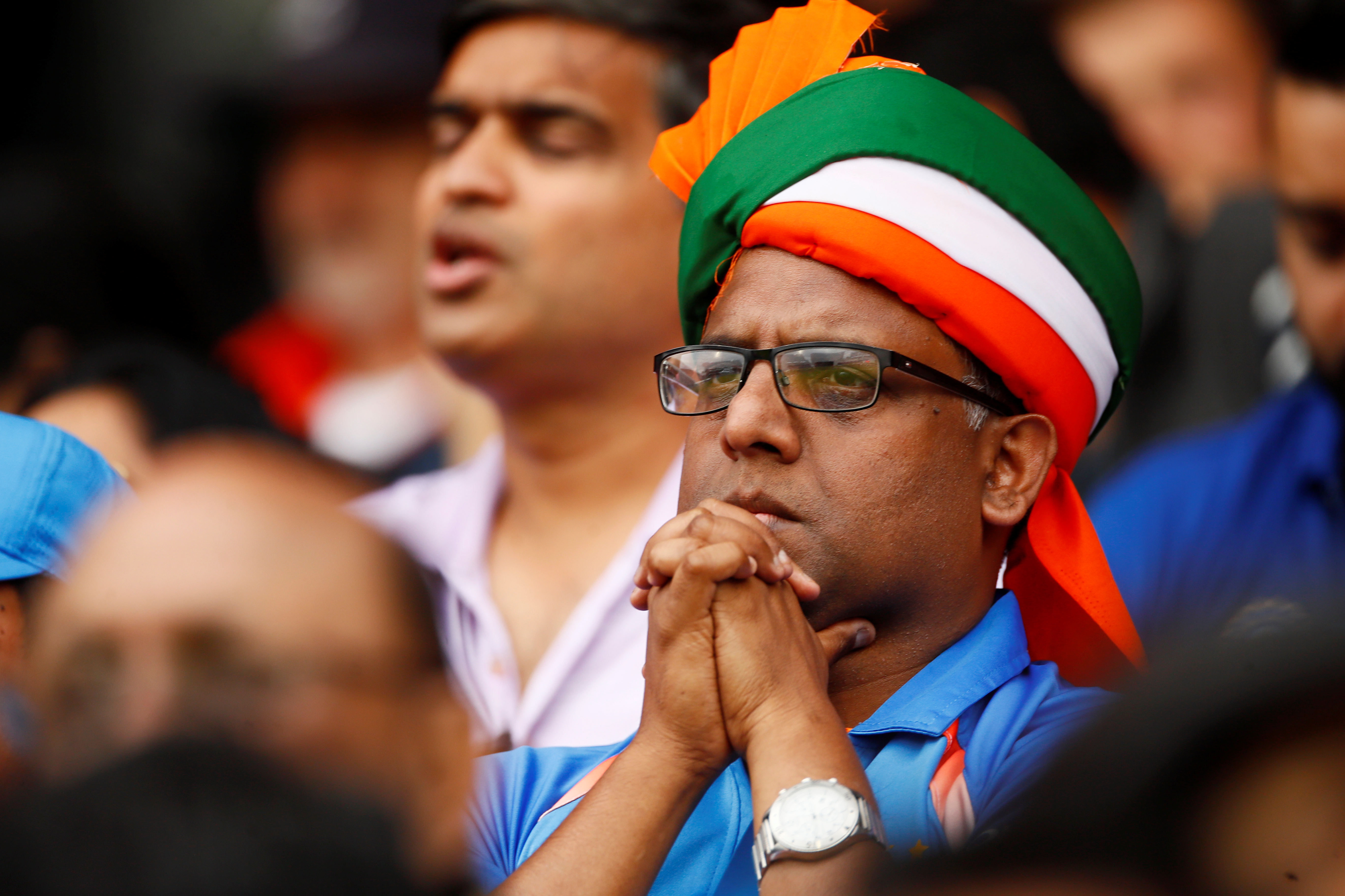 Cricket - ICC Cricket World Cup Semi Final - India v New Zealand - Old Trafford, Manchester, Britain - July 10, 2019   India fans       Action Images via Reuters/Jason Cairnduff