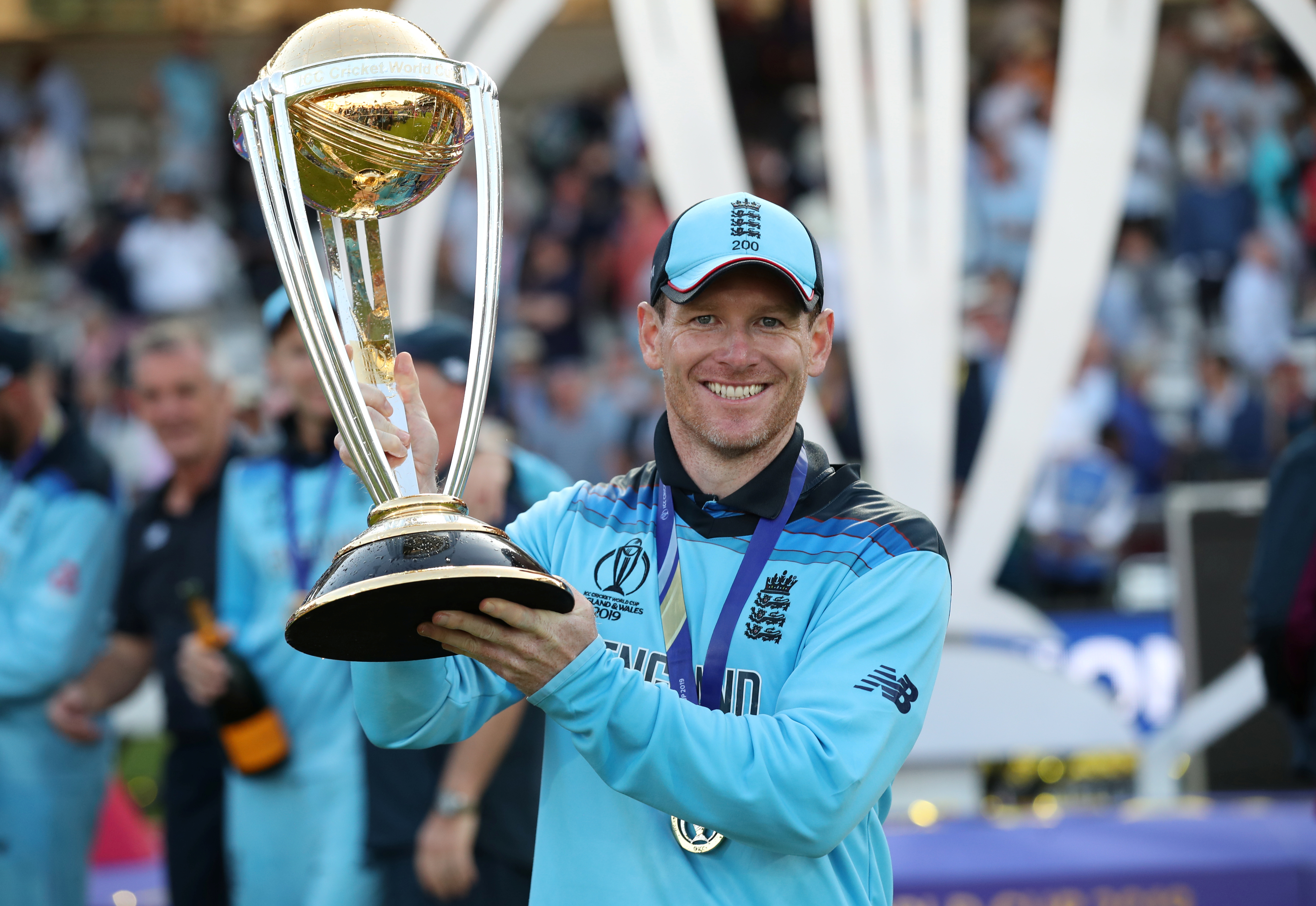 Cricket - ICC Cricket World Cup Final - New Zealand v England - Lord's, London, Britain - July 14, 2019   England's Eoin Morgan celebrates winning the world cup with the trophy   Action Images via Reuters/Peter Cziborra